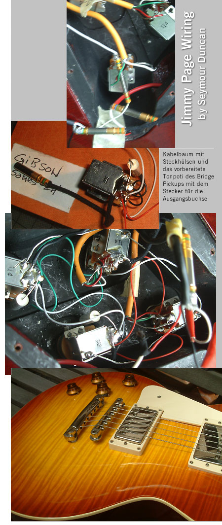 Lefthand Jimmy Page wiring harness for Gibson Les Paul, SG